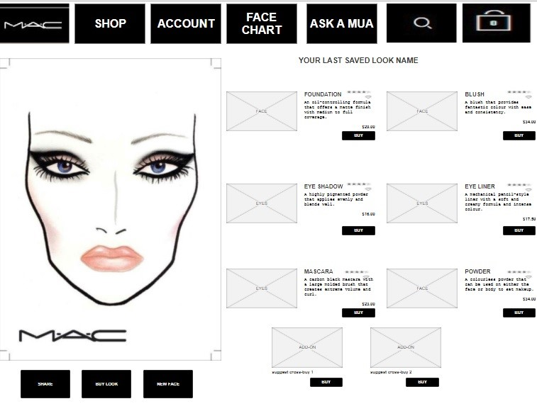 Completed Face Chart with ability to purchase directly from the design or share with friends