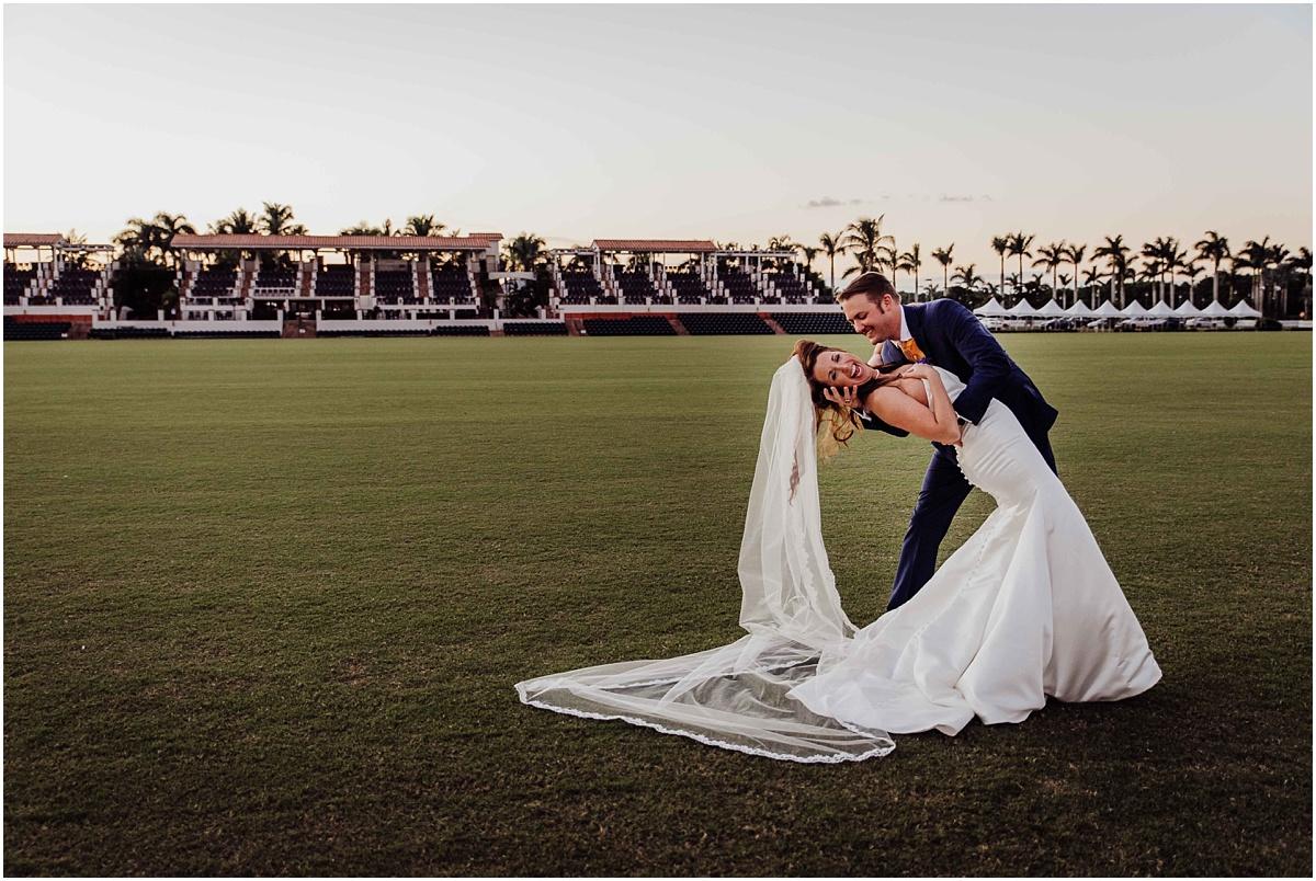 Bride groom international polo club palm beach portrait