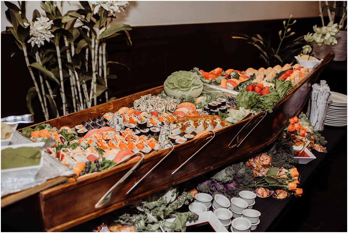 international polo club wedding sushi reception dinner