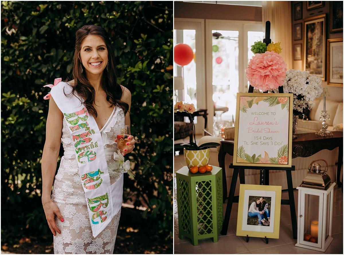 Bridal Shower Entrance Bride drinking champagne