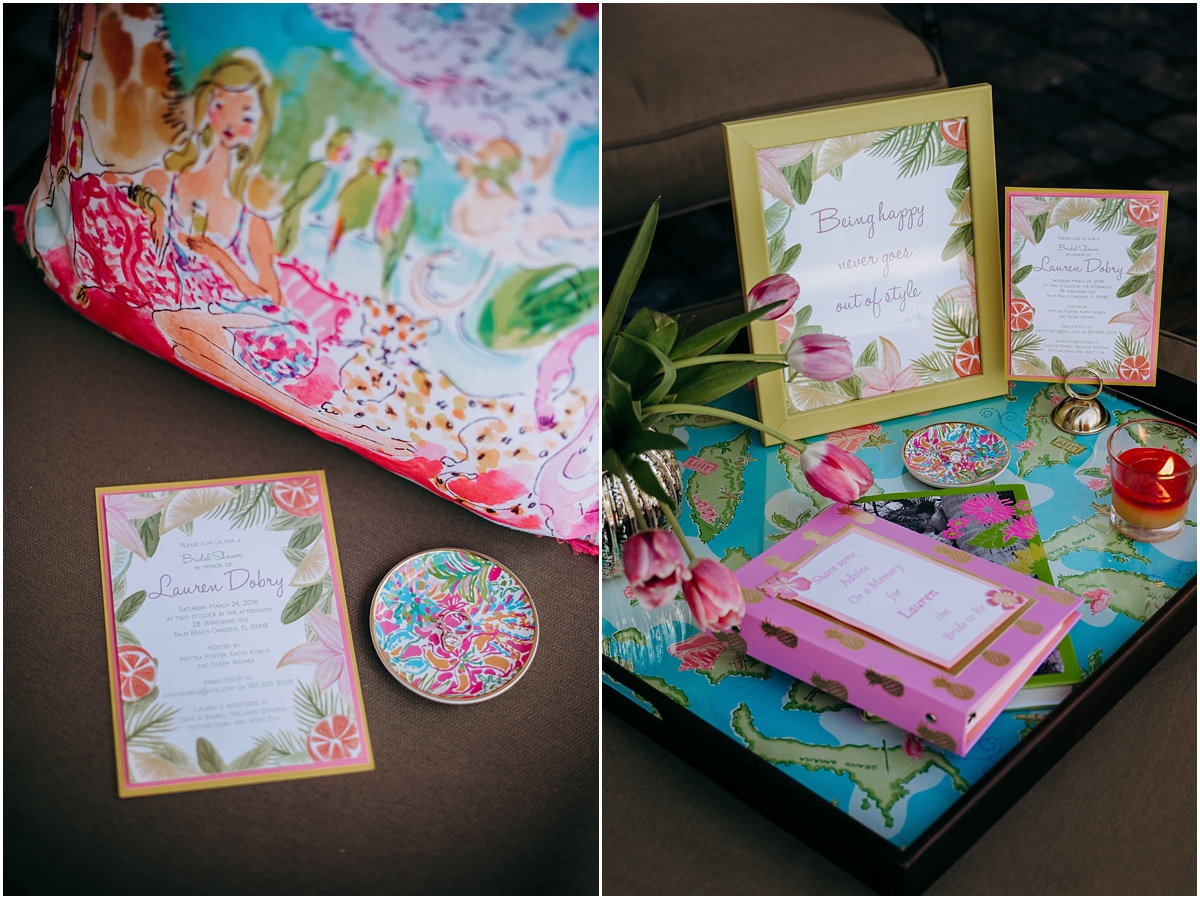 Lilly Pulitzer Pillow Ring Holder and Invitation decor