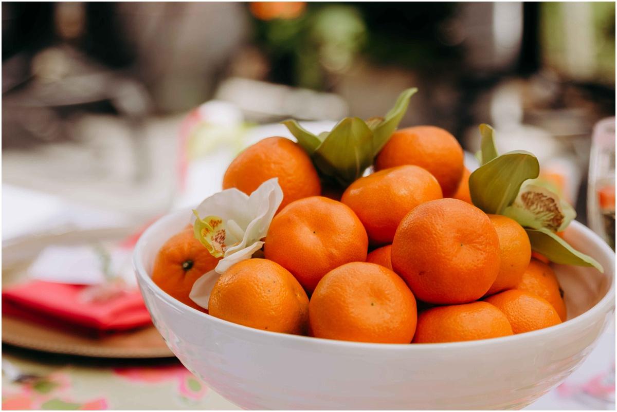 Lilly Pulitzer Bridal Shower Oranges centerpiece
