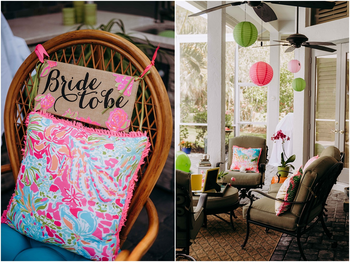 Lilly Pulitzer bride to be chair and decor