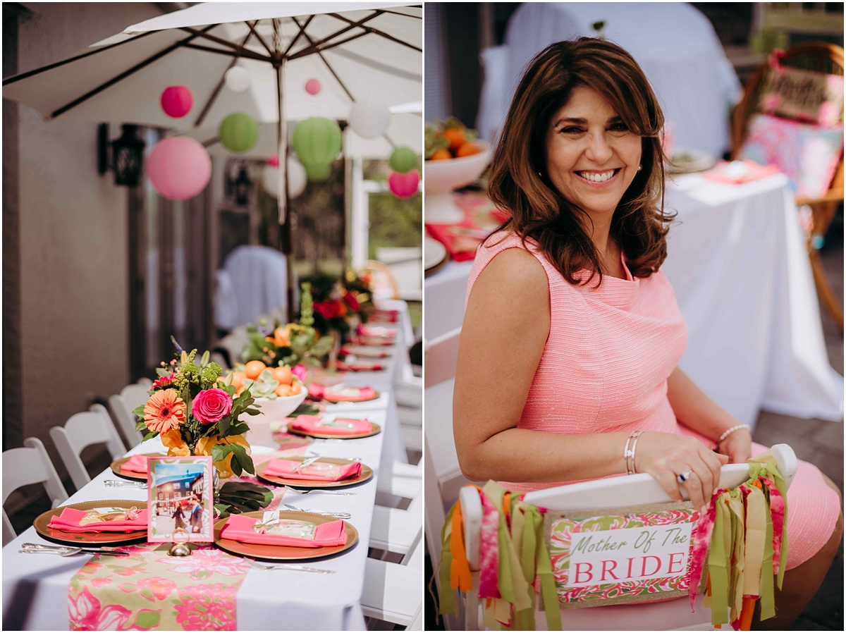 Lilly Pulitzer table setting and decor Mother of the Bride chair