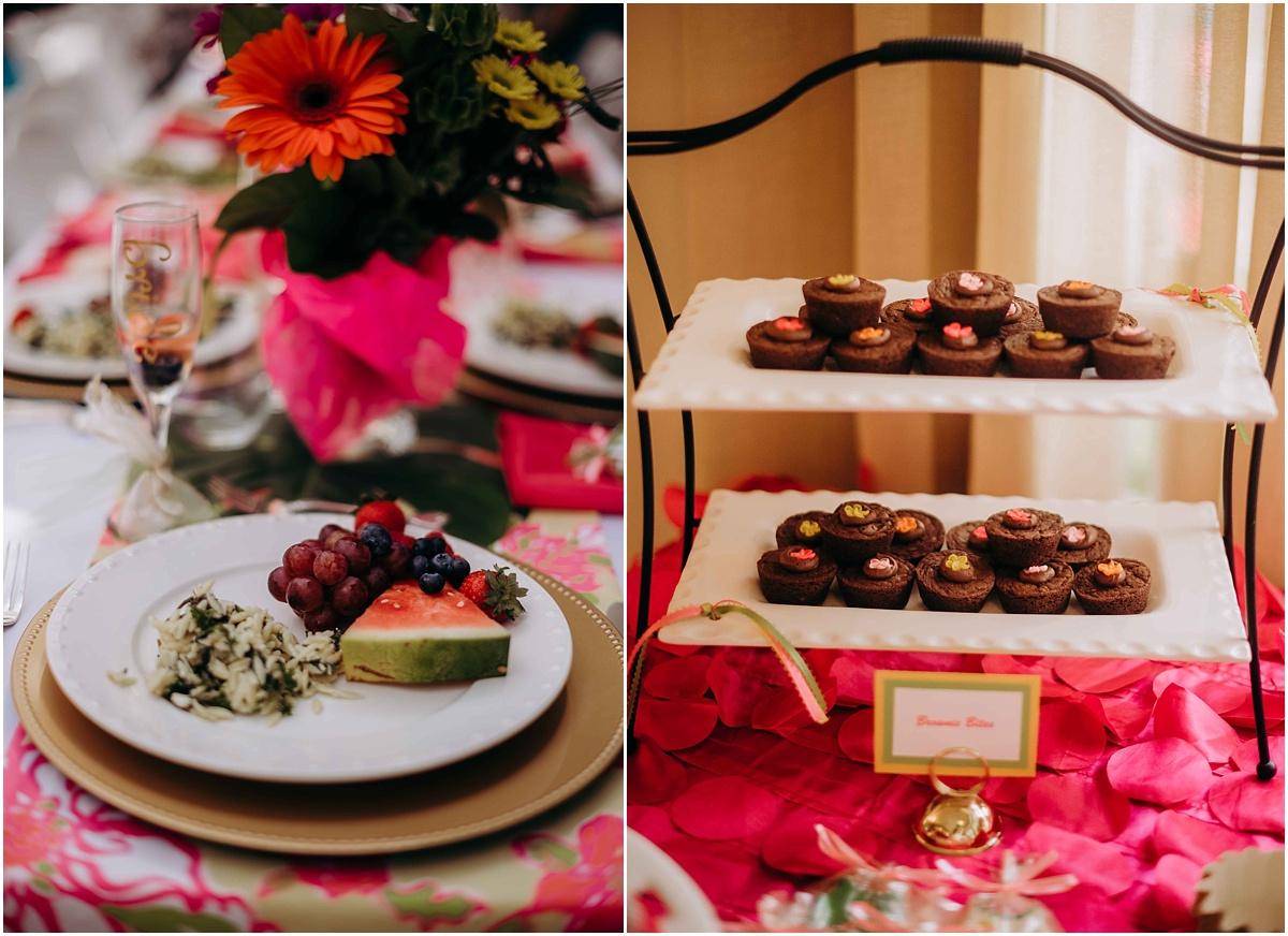 Lilly Pulitzer bridal shower brunch fruit and brownie dessert