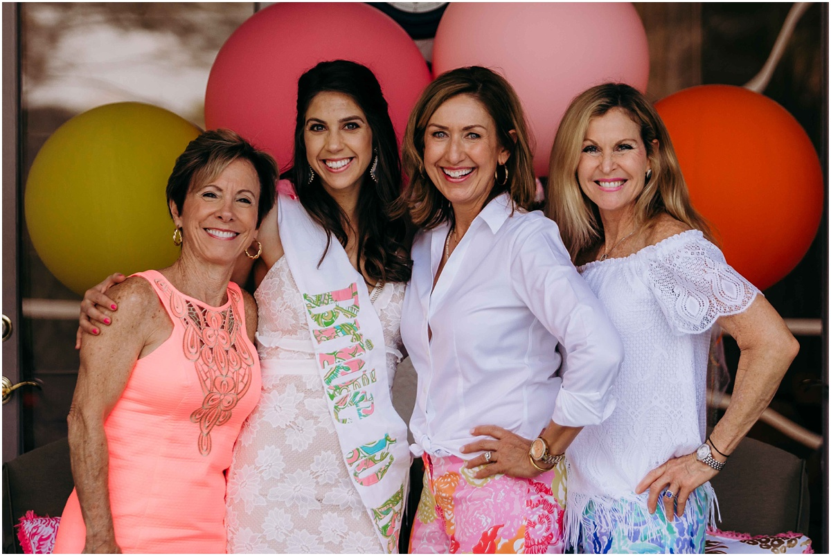 Lilly Pulitzer Bridal Shower bride and guests smiling