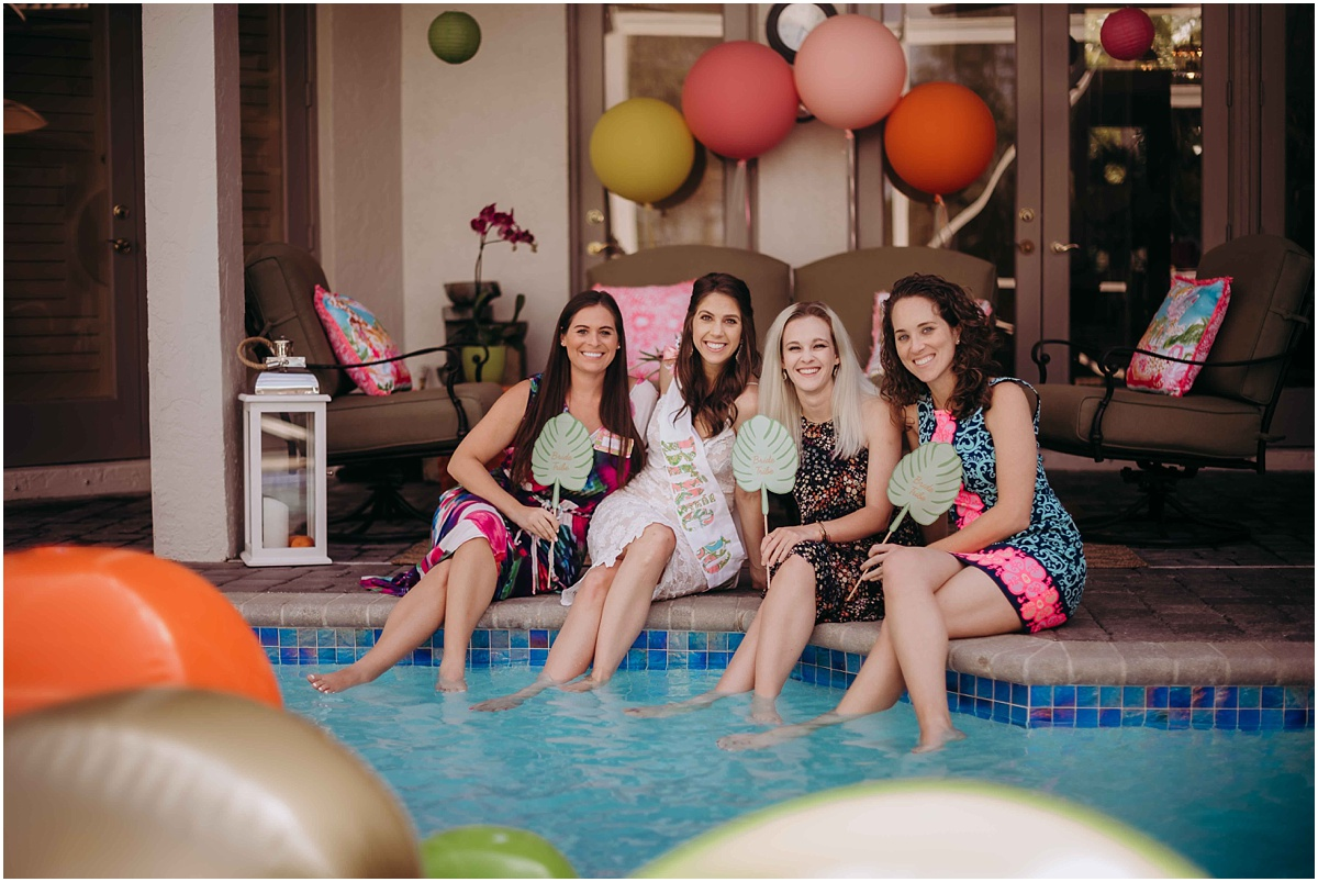 Lilly Pulitzer Bridal Shower Bridesmaids feet in pool