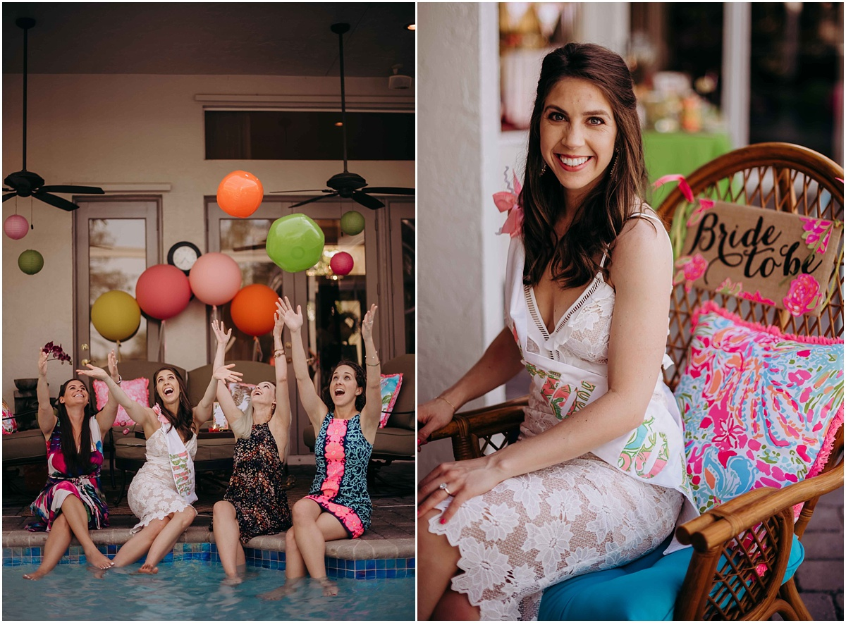 Lilly Pulitzer Bridal Shower Bride with Bride to be chair
