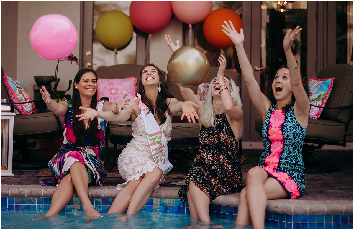 Lilly Pulitzer Bridal Shower Bride and Bridesmaids throwing balls