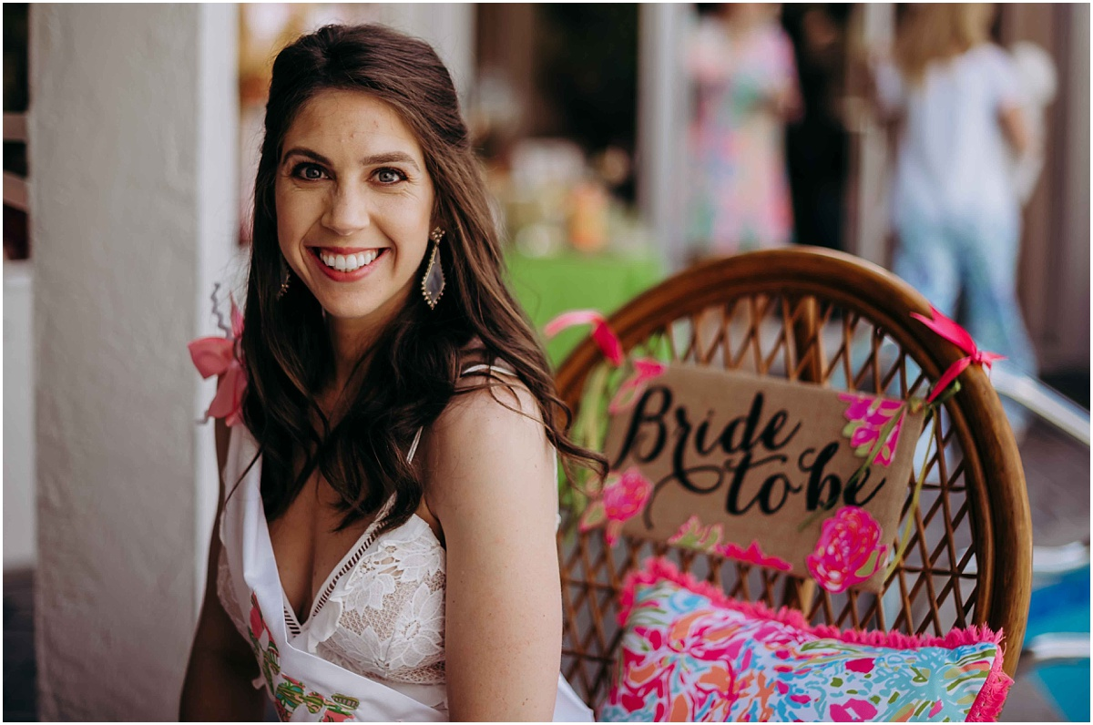 Lilly Pulitzer Bride to be chair and bride