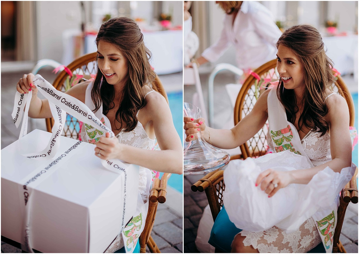 Lilly Pulitzer Bride opening gifts