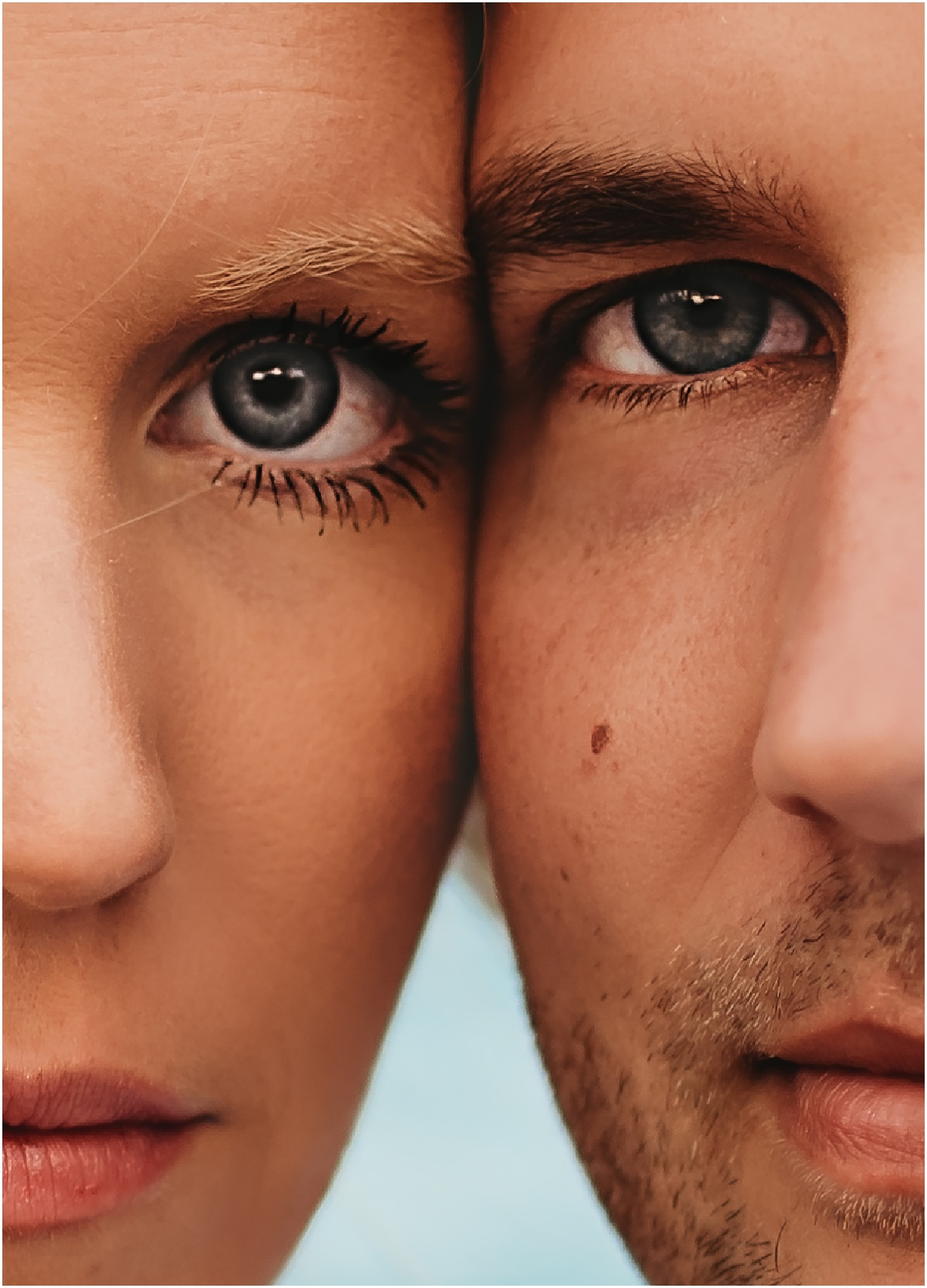facial closeup blue eyes