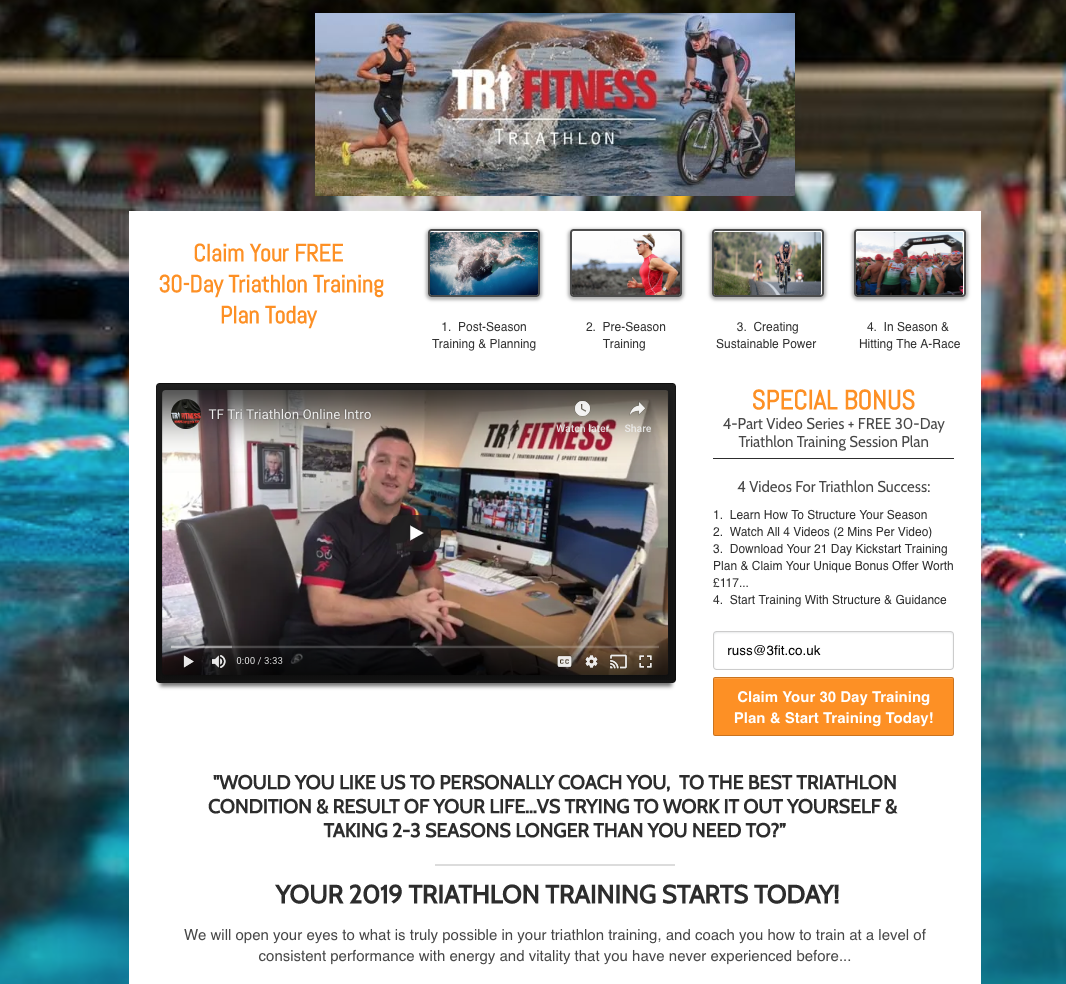 WATCH YOUR 4 PART VIDEO SERIES1. Learn How To Structure Your Season2. Download Your 30 Day Training Plan3. Receive 30 Days Of Coach SupportStart Training With Structure & Guidance -