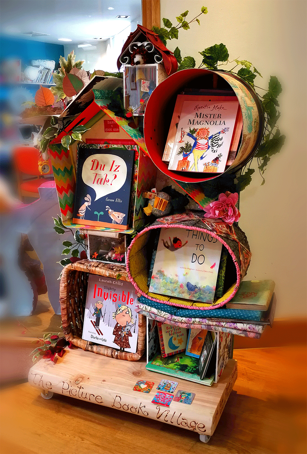 The Picture Book Village - Self initiated project, a whimsical picture book display to help children of all ages wonder, located at the Mountabattern Hospice, Isle of Wight.