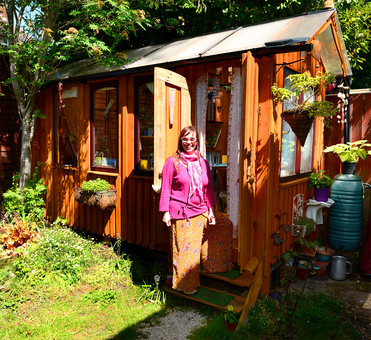 My own art studio - I built this little fairy tale studio with my partner as in my tiny house there was no space for art making, we used mainly pallets, and we just bough tons of screws, skylight roof and cladding for the inside. I can work there all the year around, as I have electricity, light and wifi. It's filled with light and dreams! ~ photo courtesy IW County Press.