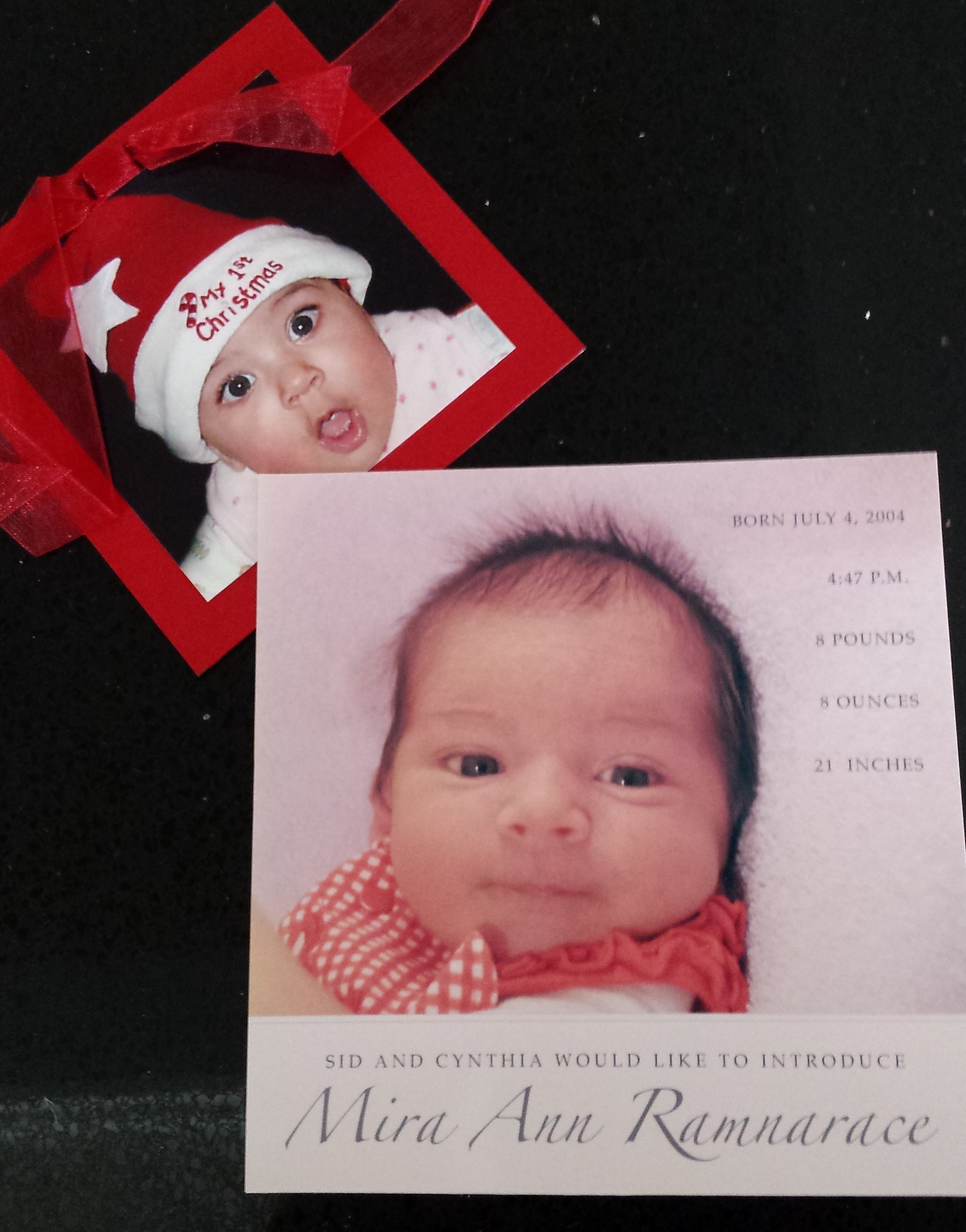 My daughter, Mira's, birth announcement and first Christmas photo.