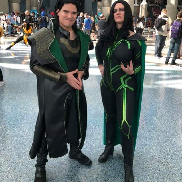 I still have some adjustments to make before Wondercon, but our costumes looked pretty marvelous at #LACC today. #Loki #Hela #ThorRagnarock #cosplay #costumes #madewithjoann