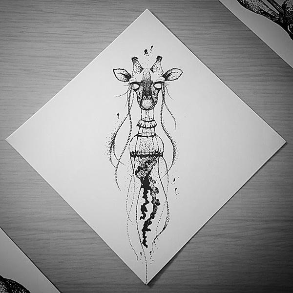 Inktober-Giraffe-Jellyfish
