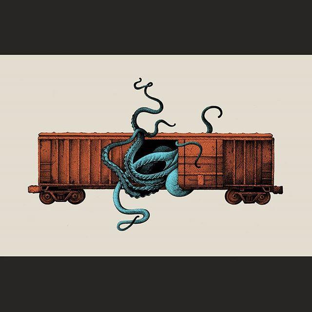 Fantasy Transport . Eldritch Horror . #illustration #artistsoninstagram #cthulhu #lovecraft #horror #trains #drawing #dotwork #tattoo #monster #tentacle #octopus #instaart #blackwork #strange #artoftheday #inking