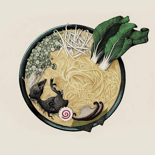 Ugly Food . Ramen . #illustration #artistsoninstagram #ramen #foodporn #drawing #inking #art #blackwork #noodles #instaart #food #dotwork #artoftheday