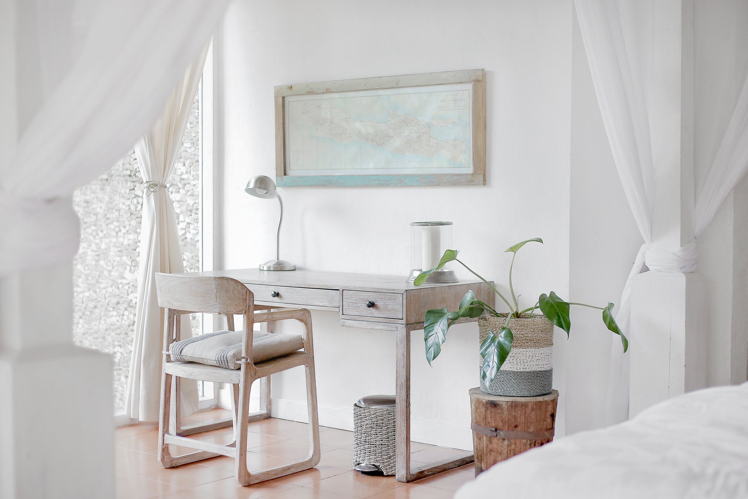 Fresh Paint - Remember, neutral colors are best such as whites, grays and calming tans. You can get a good quality paint for about $30 a gallon and it will do wonders to adding freshness and a sense of simple style to your home.
