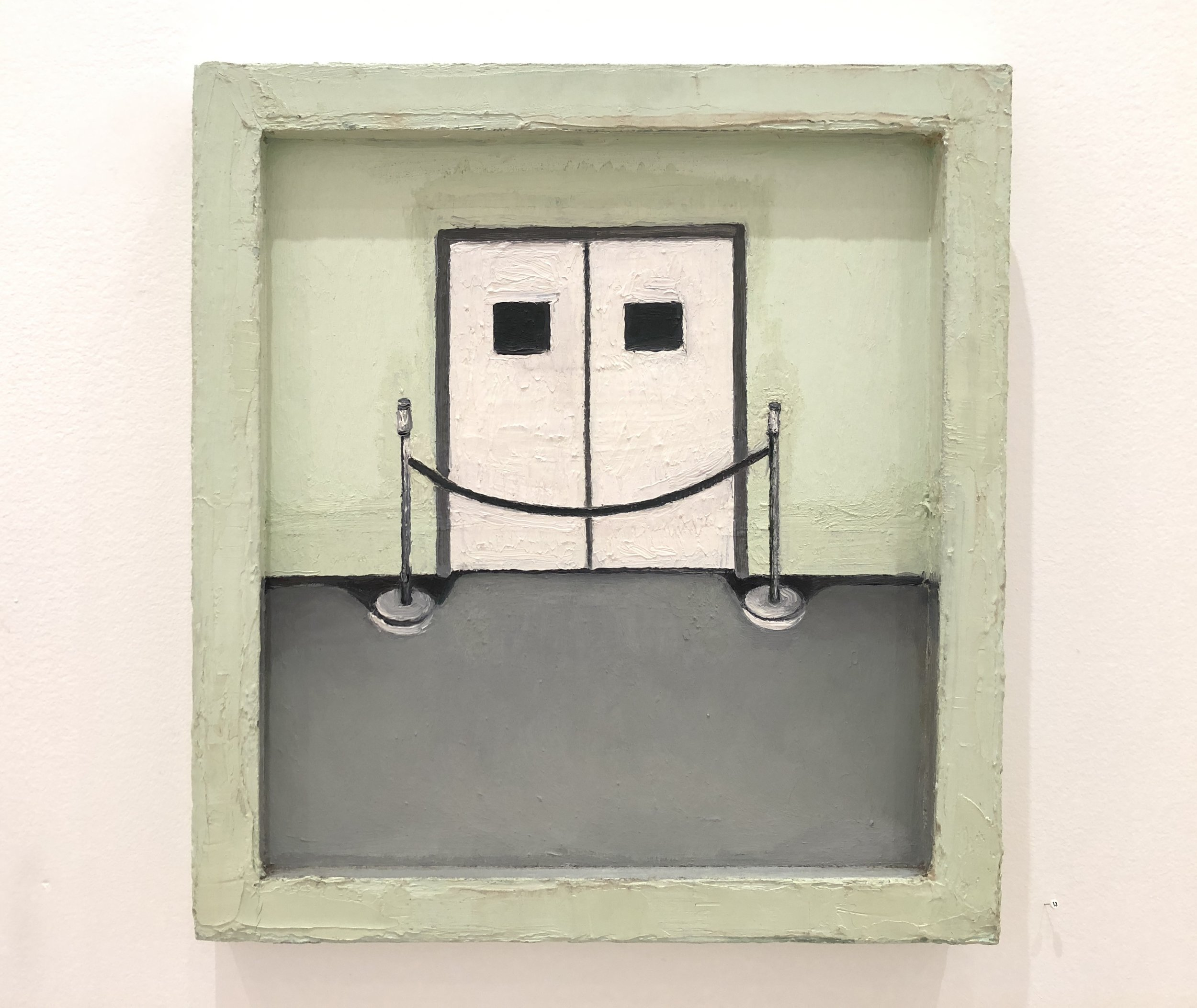 """Lori Taschler, No Exit  , 2002, 19"""" x 17.5"""", Oil on board in painted wood frame"""