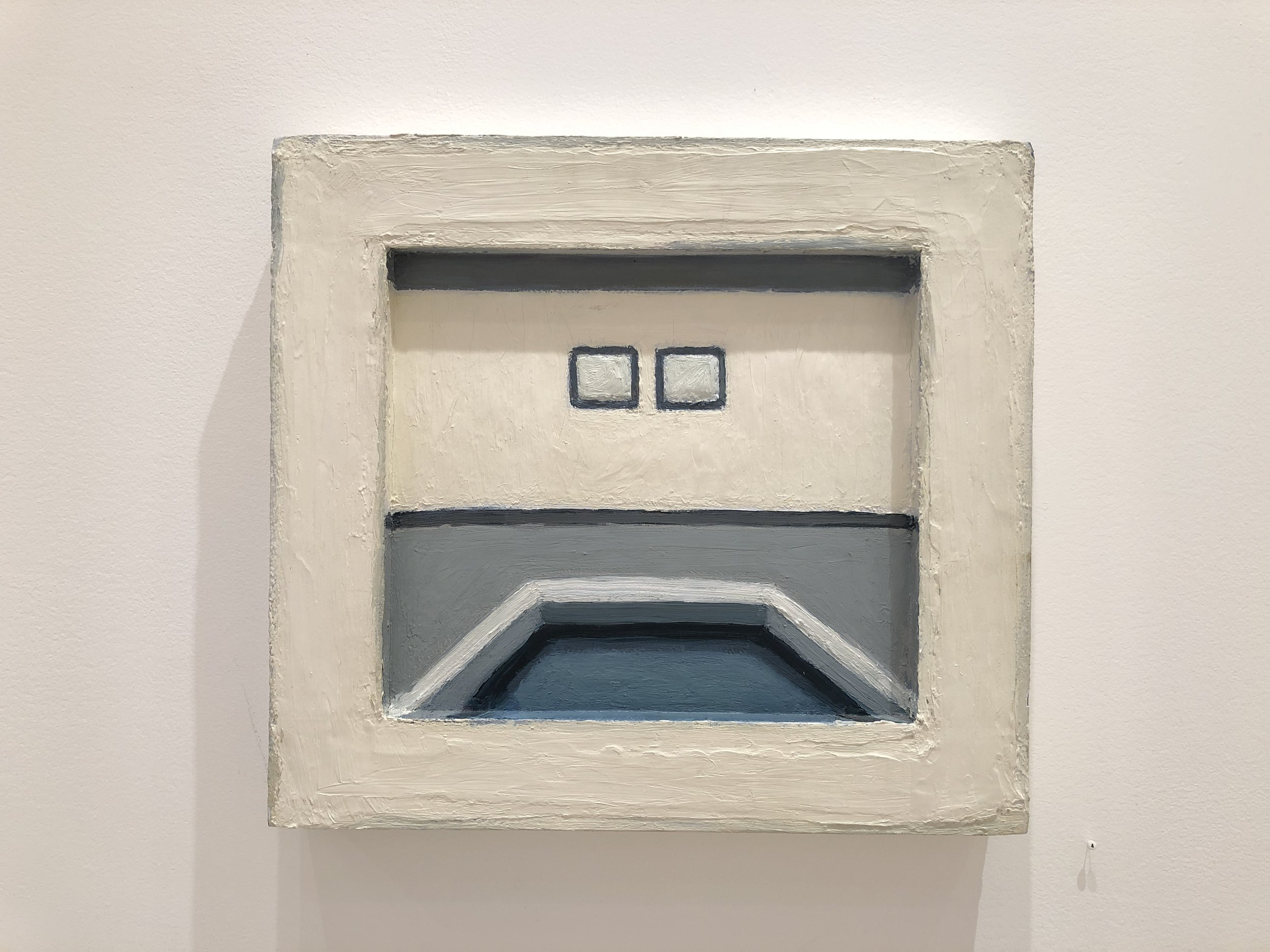 """Untitled (white room) , Lori Taschler,  1997, 17"""" x 15.5"""",oil on wood in painted wood frame"""