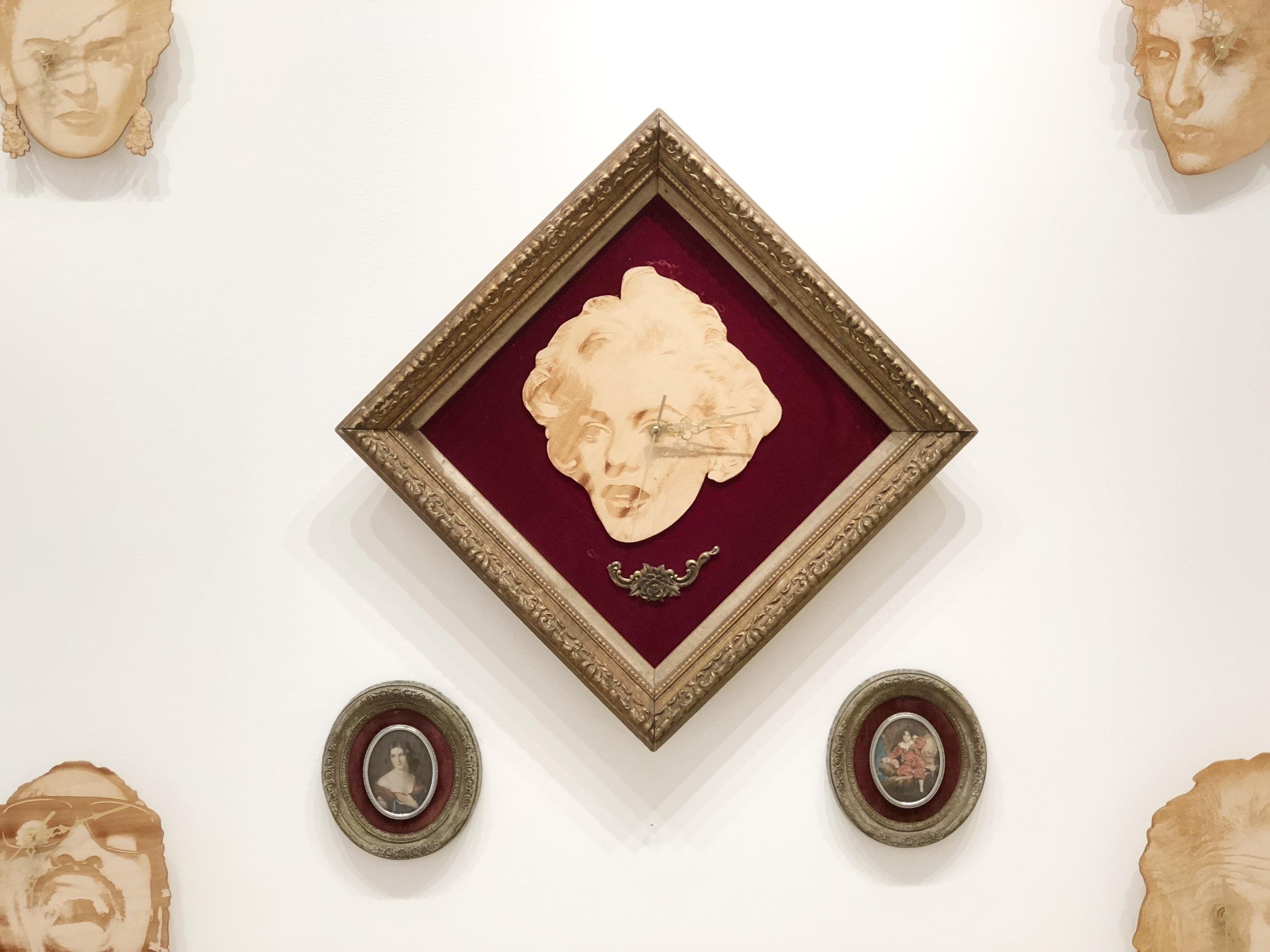 Clockwork Cros, Red Rose Marilyn Monroe Clock (3 piece suite) , 2015