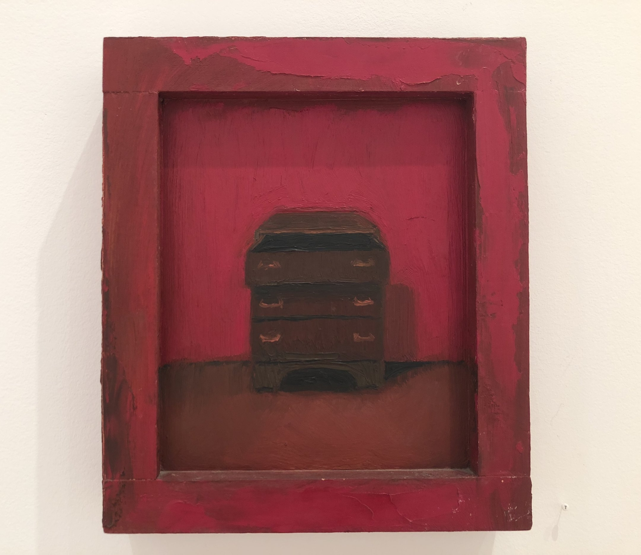 """Lori Taschler,   Untitled (red dresser),  1993, 14"""" x 12"""",oil on wood in painted wood frame"""