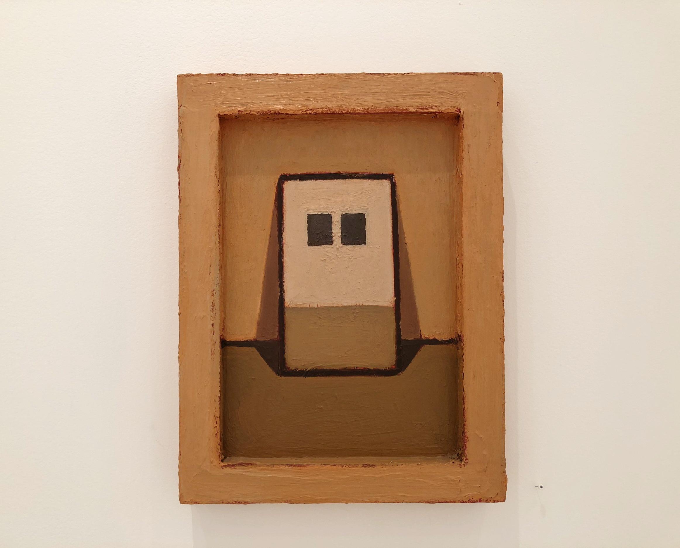 "Lori Taschler, Untitled (orange), 2002, 16"" x 12"", oil on wood in painted wood frame"