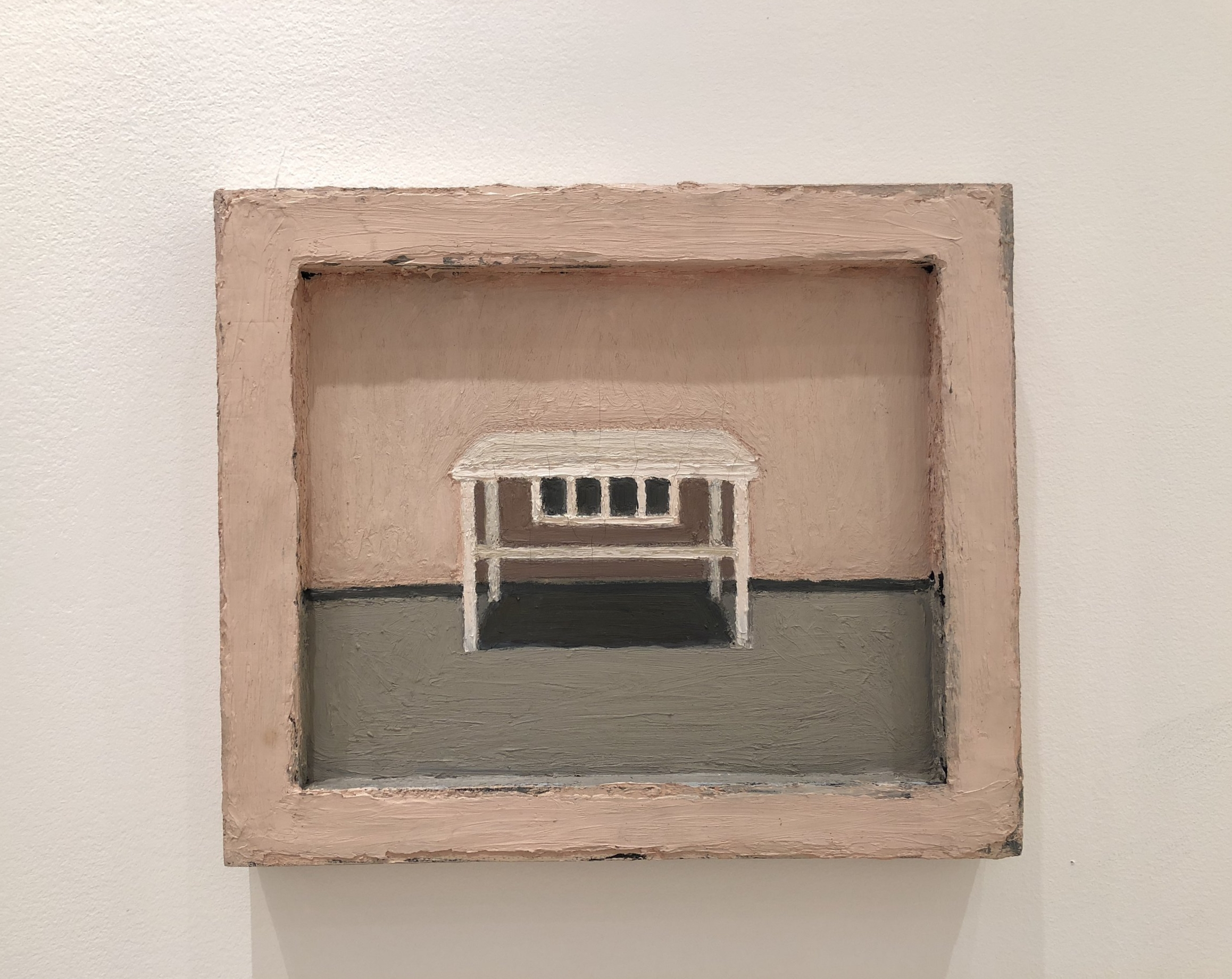 """Lori Taschler,   Untitled (table), 1998, 13.5"""" x 16"""",oil on wood in painted wood frame"""