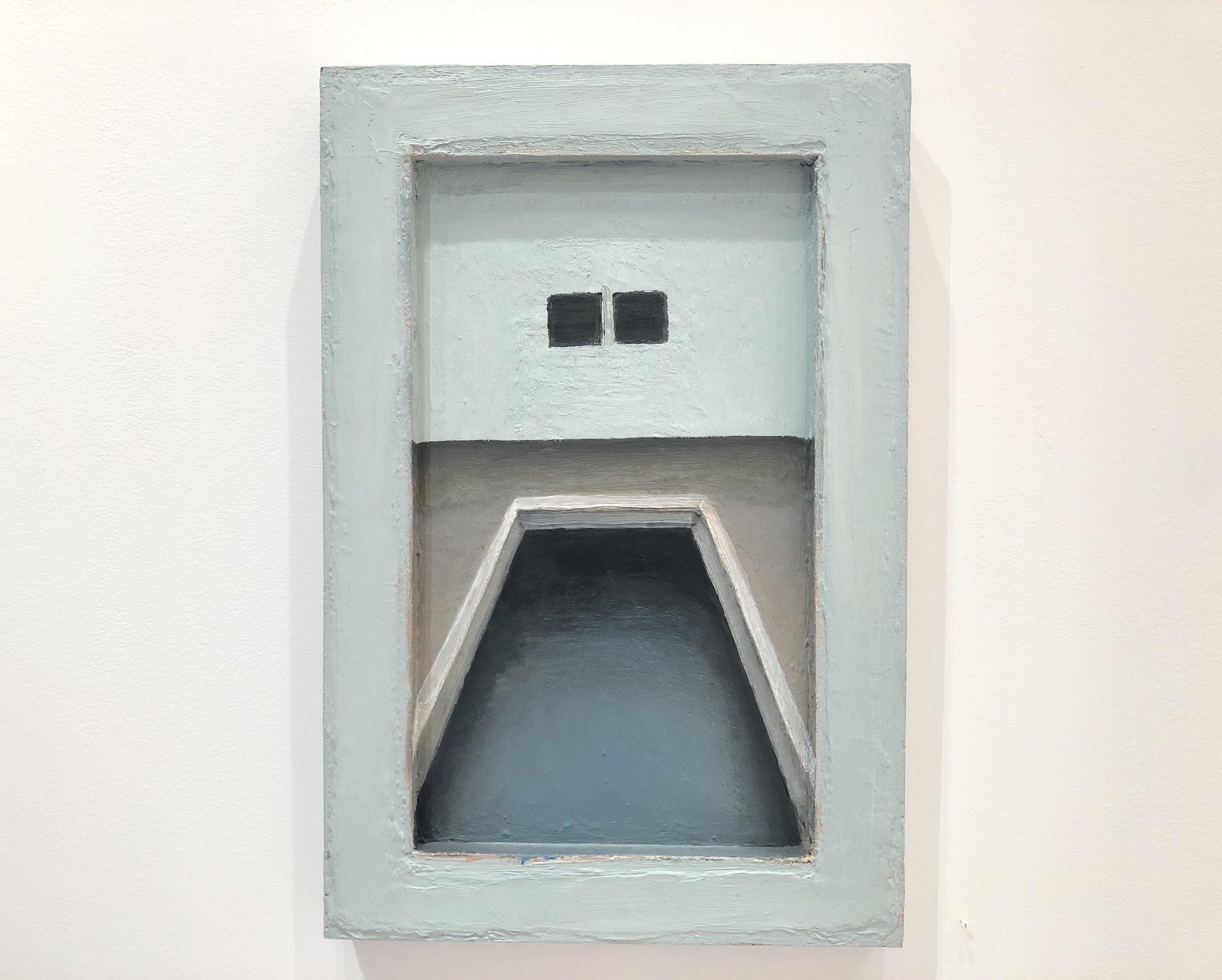 "Untitled  (pool) , Lori Taschler,  2003, 24"" x 16"",oil on wood in painted wood frame"