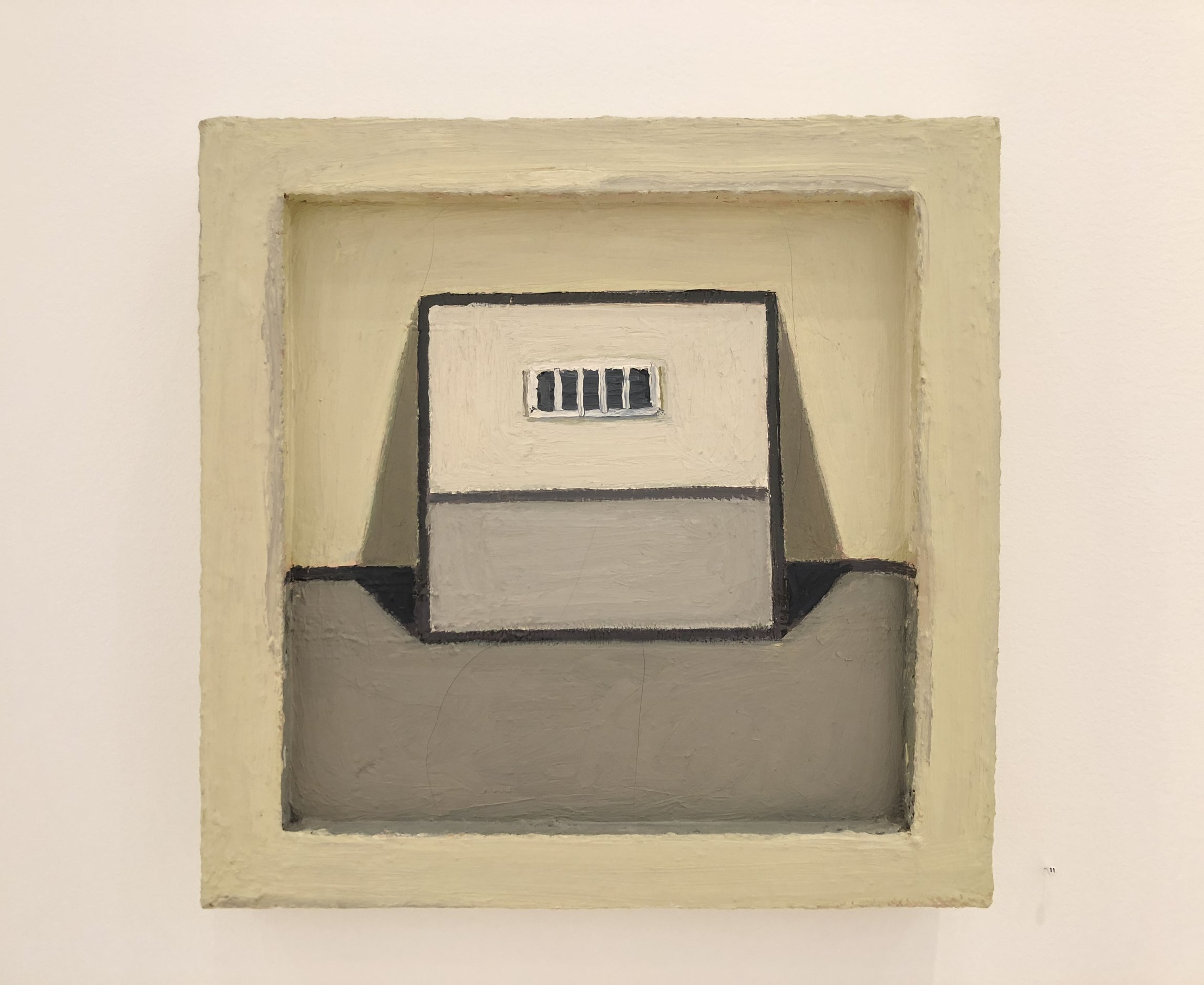 """Lori Taschler,   Untitled (yellow room), 1998, 16"""" x 16"""", oil on canvas in painted wood frame"""
