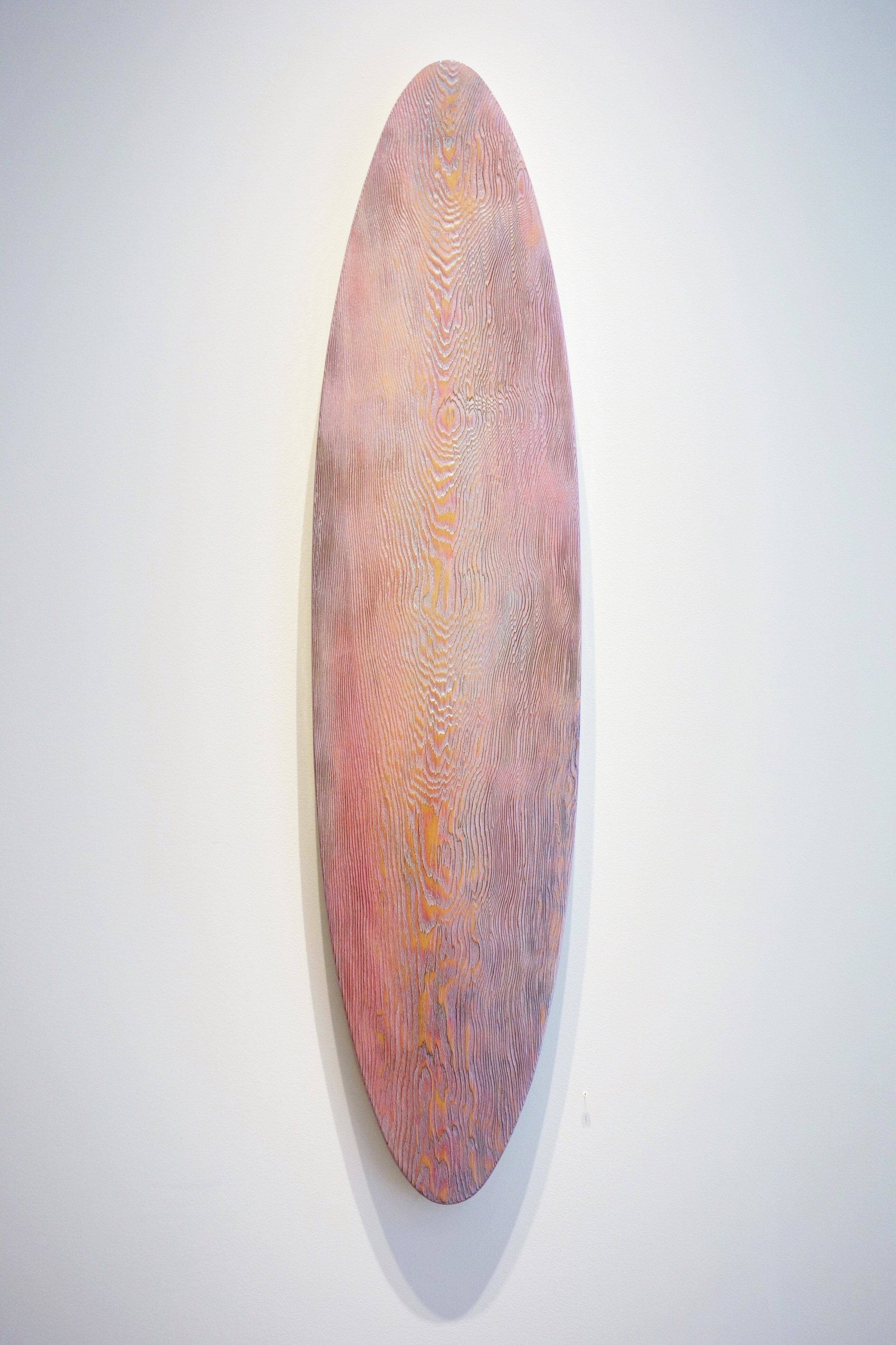 "Justen Ladda, pink and gold mirror, 2017, 46"" x 11"", mixed media on red cedar"