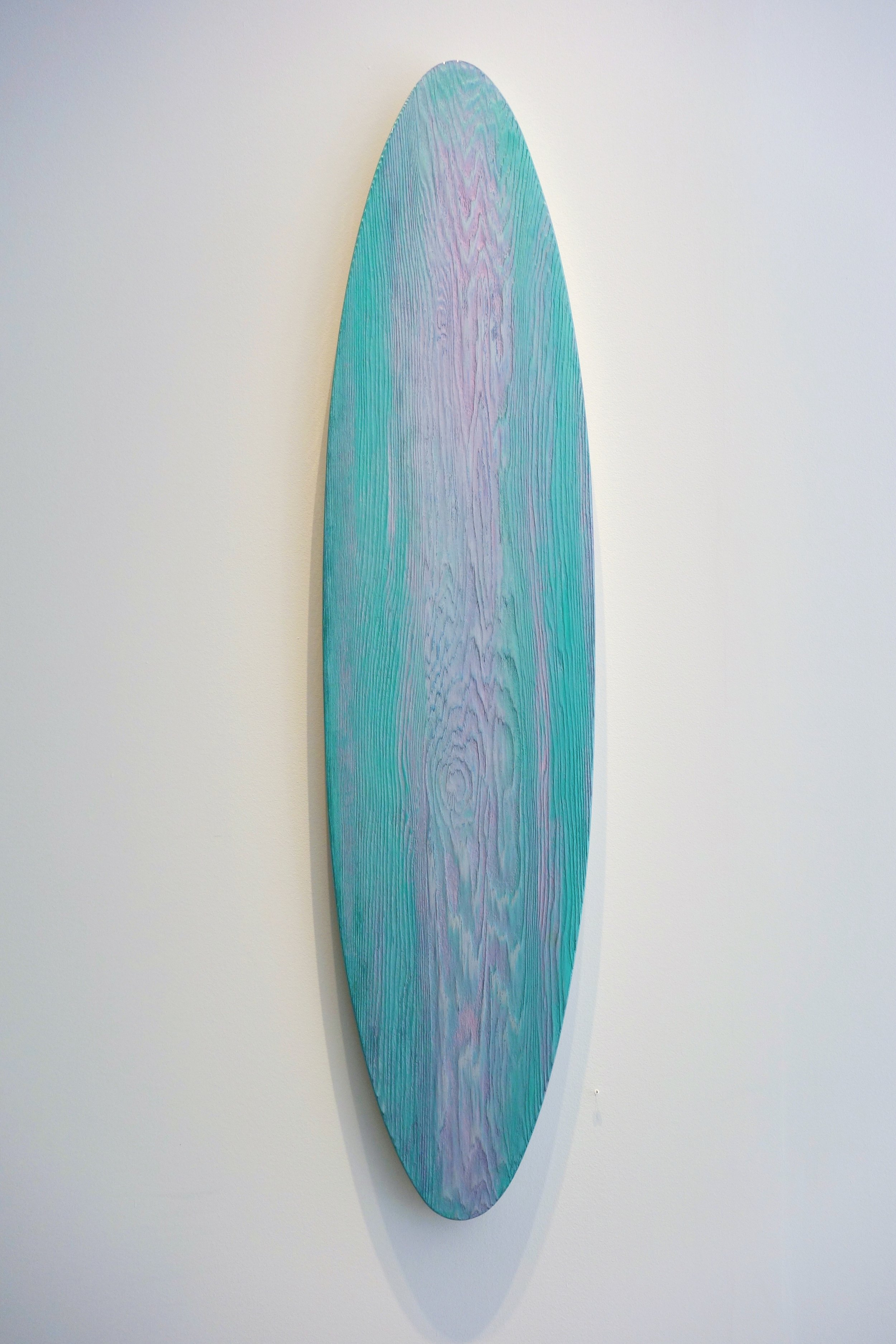 "Justen Ladda, pink and green mirror, 2017, 46"" x 11"", mixed media on red cedar"