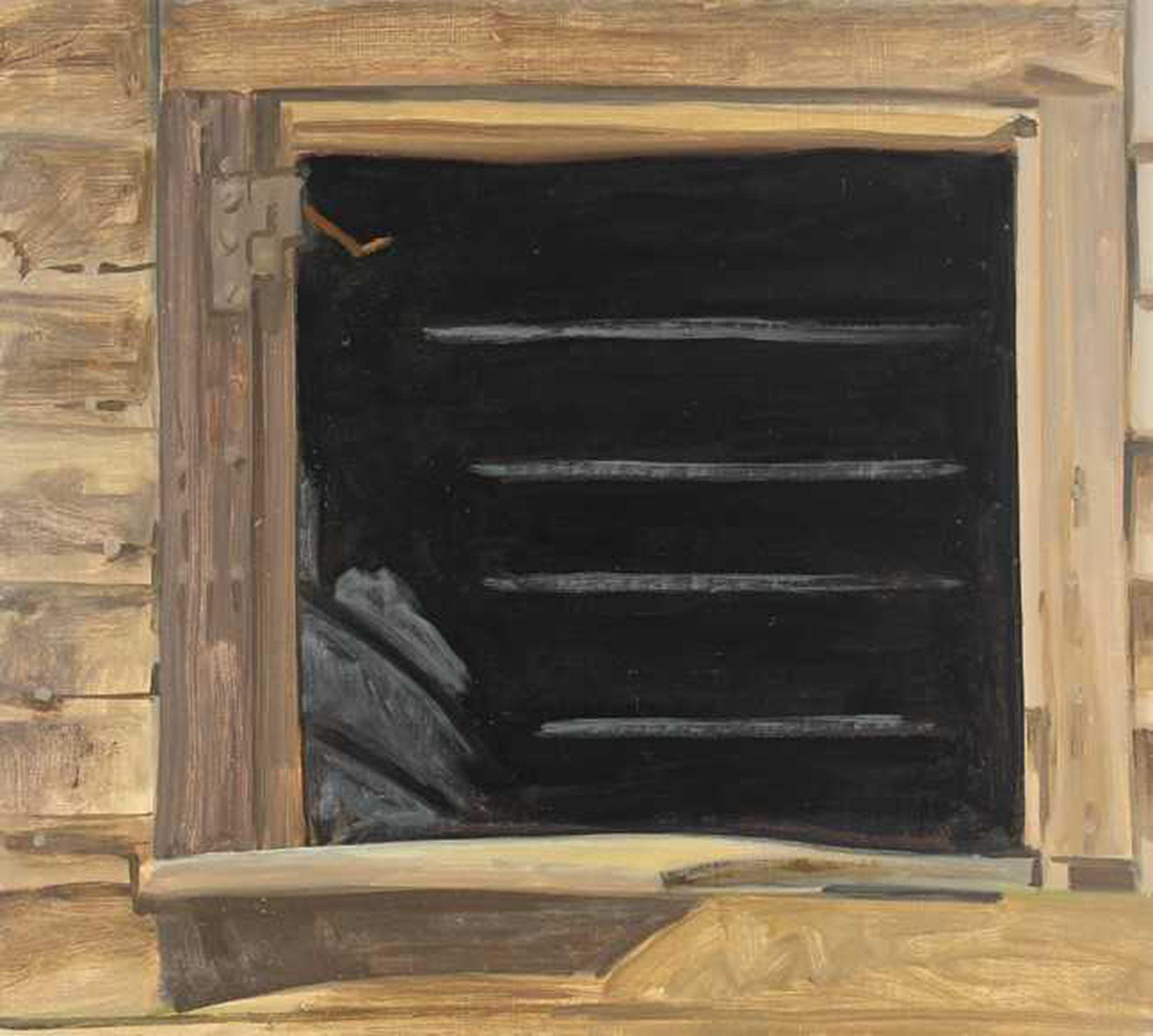 "Lois Dodd, Empty Window, Black, 1979, oil on masonite, 16""x 20"" courtesy Alexandre Gallery"