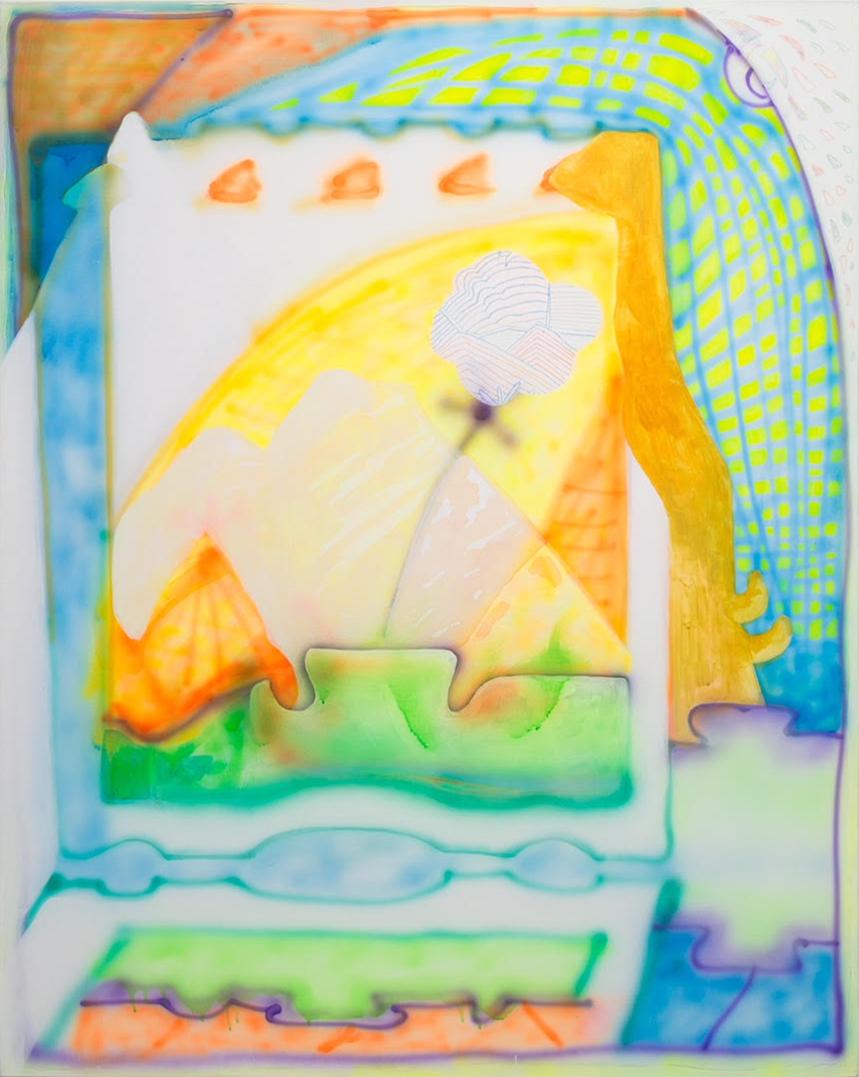 "Catherine Haggarty, Rue.St.Chamas, 2017, fluid acrylic on canvas, 44""x 38"""