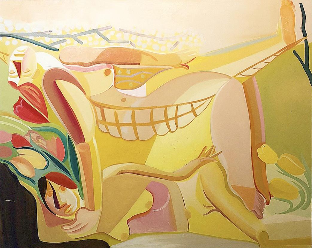 "Danielle Orchard, Hammock, 2018, oil on canvas, 47""x 59"", courtesy of Jack Hanley Gallery"