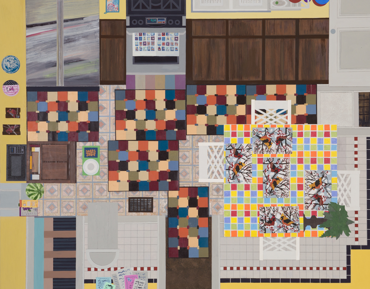 """Ann Toebbe, Area Rugs and Placemats, 2015, gouache, pencil, and paper collage on panel, 24"""" x 30"""", courtsey Tibor de Nagy"""