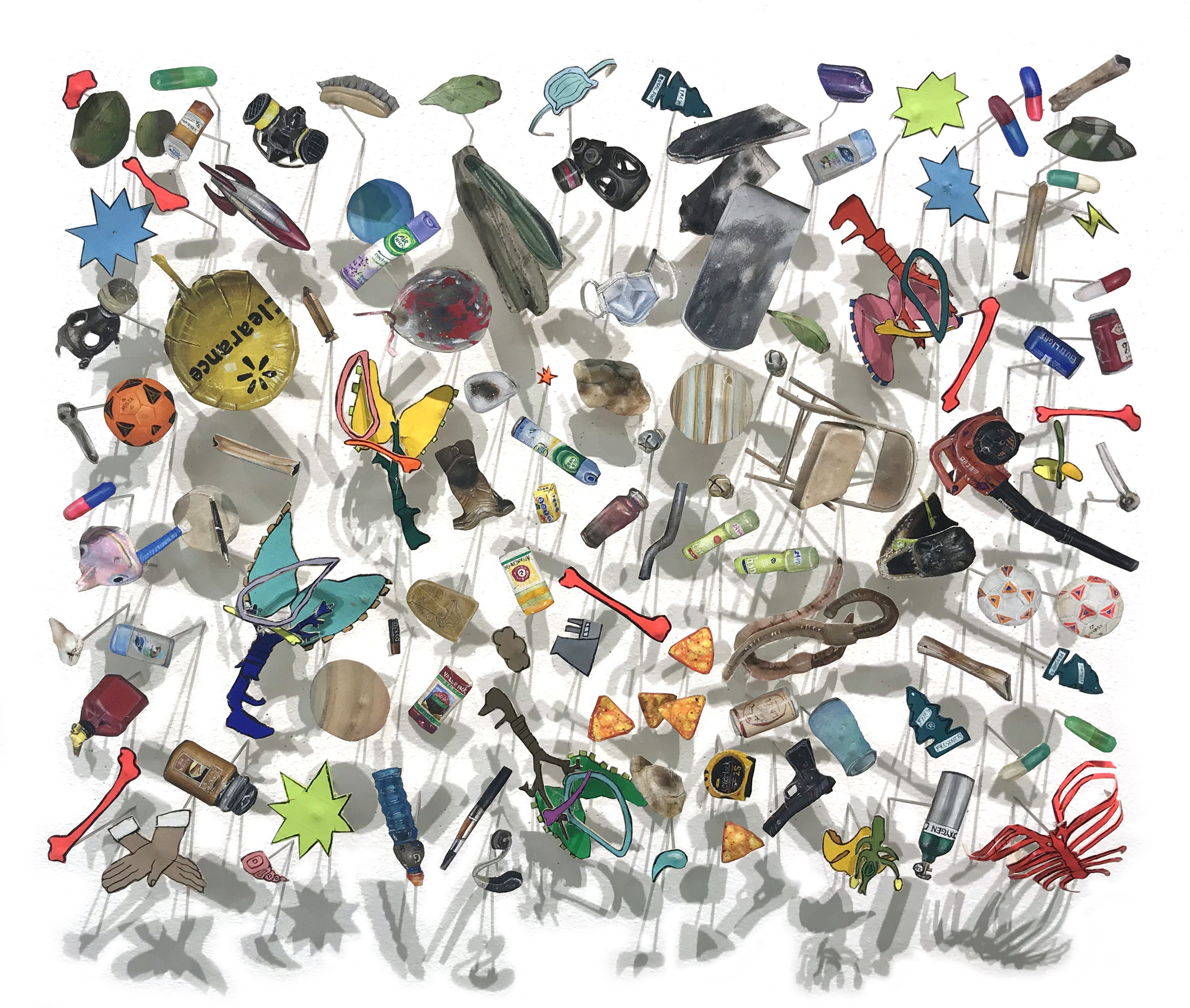 Rachel Grobstein, Atmosphere, gouache, paper, pins, 2018, 7 x 9.5 x 2 inches.jpg
