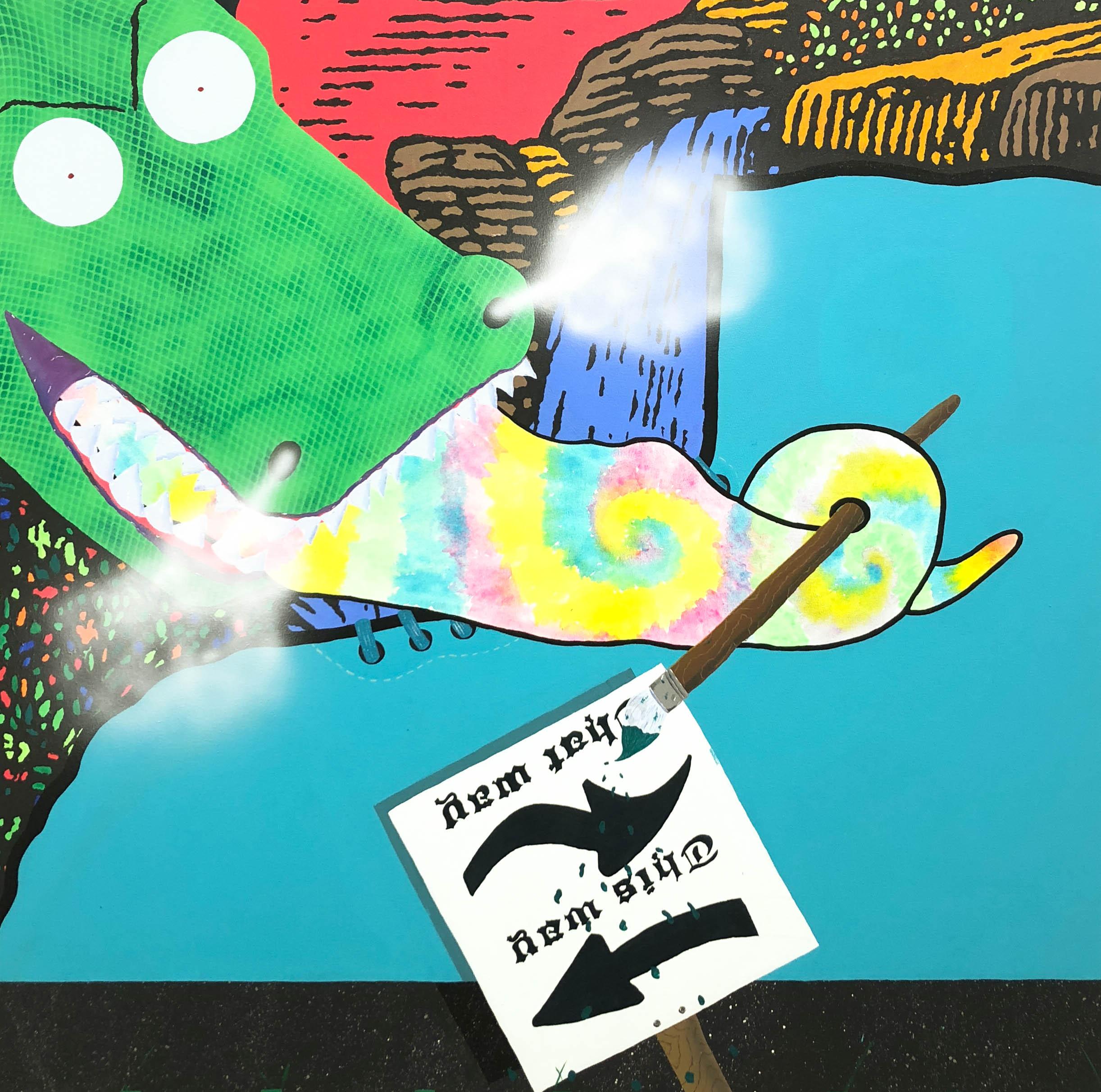 Dan Fig, The Optimist, acrylic on canvas, 2018, 50 x 50 in..jpg