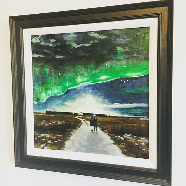 Feeling privileged to have been asked to create this painting - now given as an engagement gift 🙂 #iceland #icelandtravel #northernlights #northernlightsiceland #wedding #artistsoninstagram #art thanks @rachbrunt