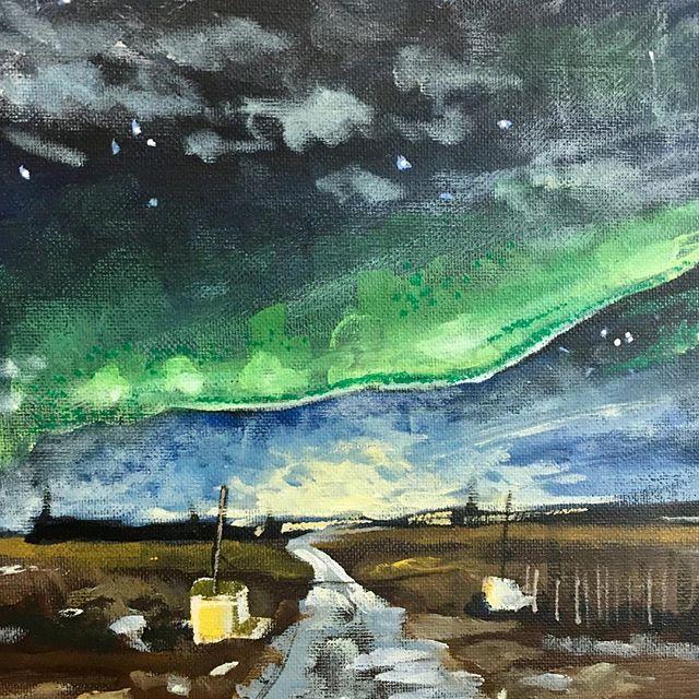 "Northern Lights (small 8""x8"" study) #iceland #northernlightsiceland #icelandtravel #artistsoninstagram #art #painting"