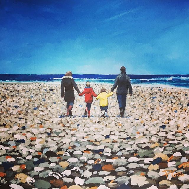 """Family beach walk! 24""""x24"""" commission - really enjoyed painting this bright sunny scene #beach #spring #art #painting #pebbles #family #walk"""