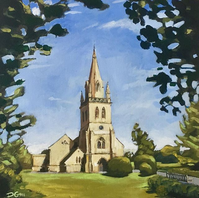 St David's - Moreton in Marsh - in the sun... for Max's birthday 🙂🥂 #art #cotswolds #moretoninmarsh #painting #church