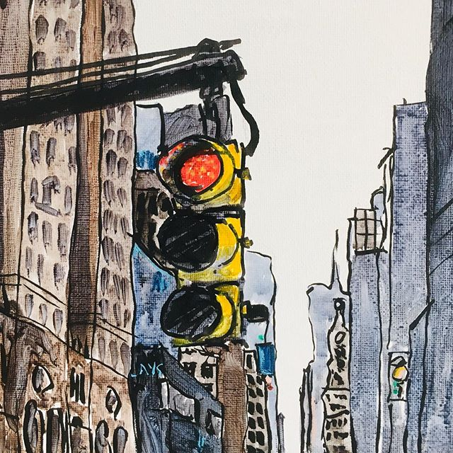 New York Traffic lights 🚖🚦🗽 acrylic and ink sketch #newyorkcity #newyork #painting #art
