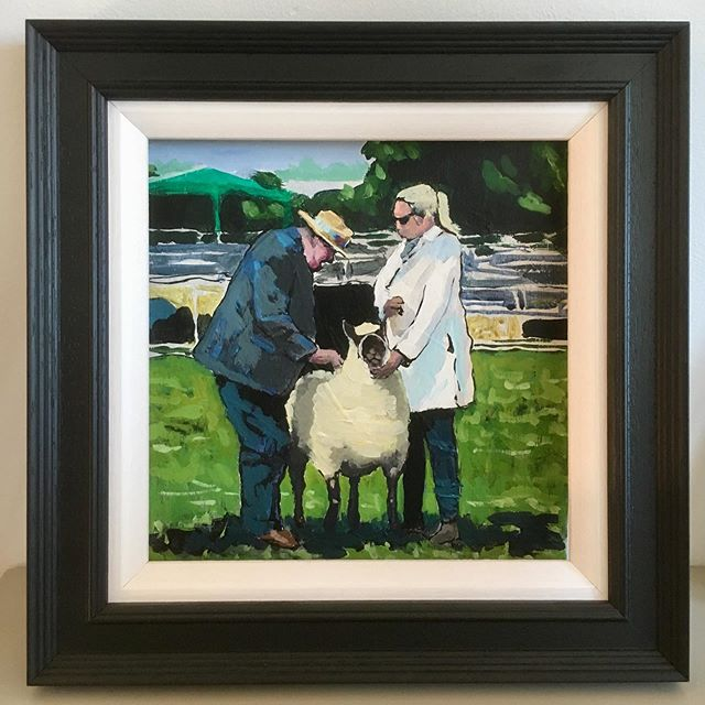 "Moreton in Marsh Show - in a frame - (this original 8""x8"" acrylic on wood is available to buy now at £95) #moretoninmarsh #moretonshow #sheep #farm #art #painting"