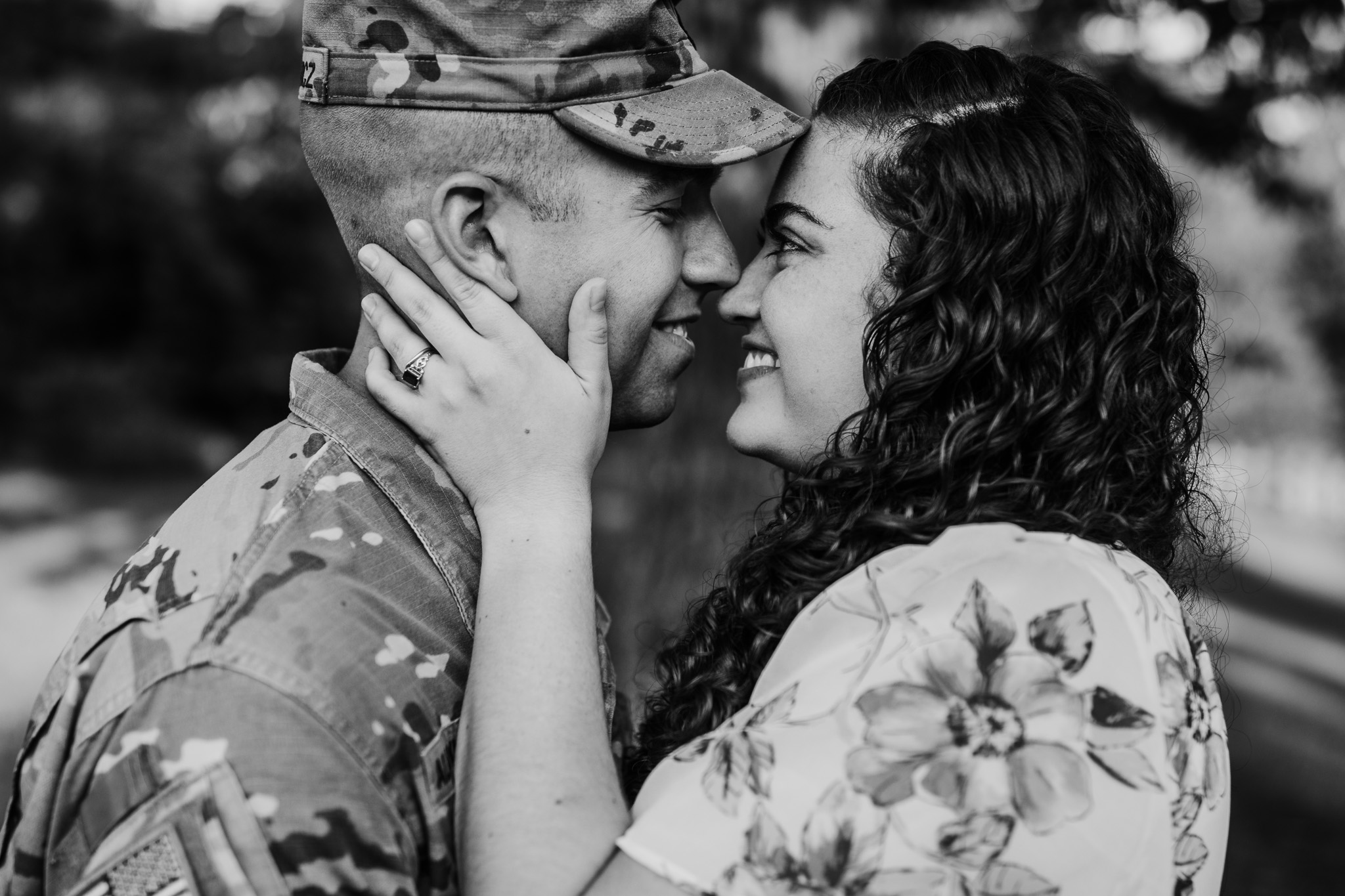 man in uniform in love with his wife