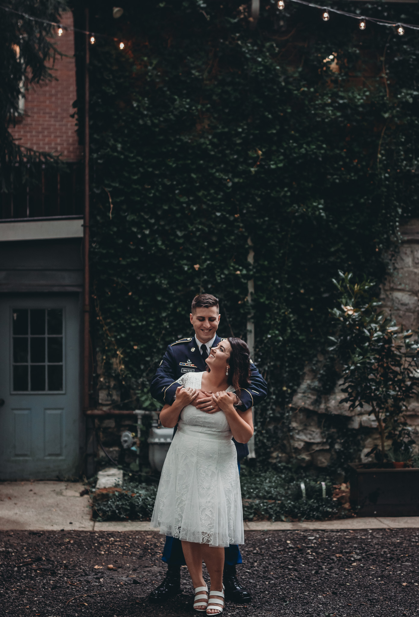 man hugging his new wife