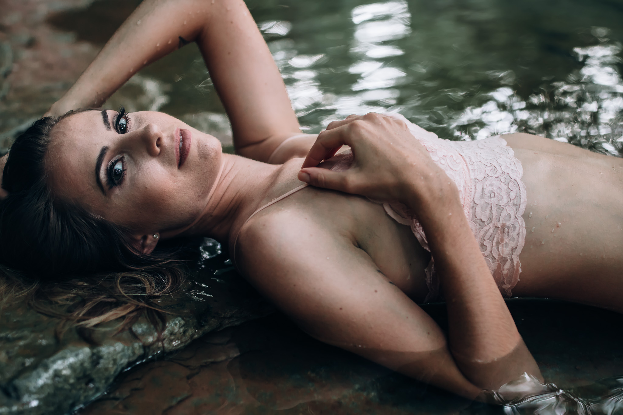laying in water outdoor boudoir